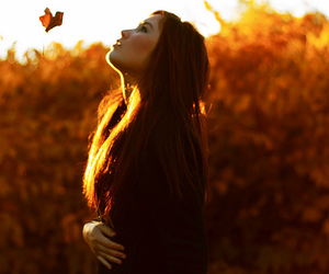 girl, autumn, and butterfly image