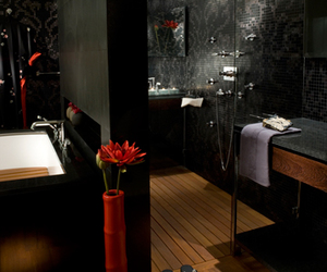 black and red, home design, and luxury image