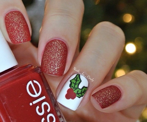 green, nails, and red image