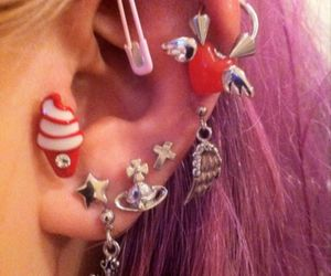 piercing, earrings, and grunge image