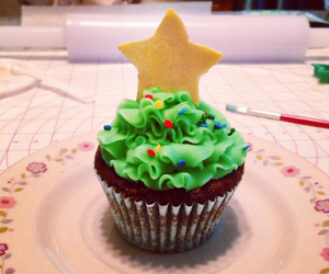 christmas, confetti, and cupcakes image