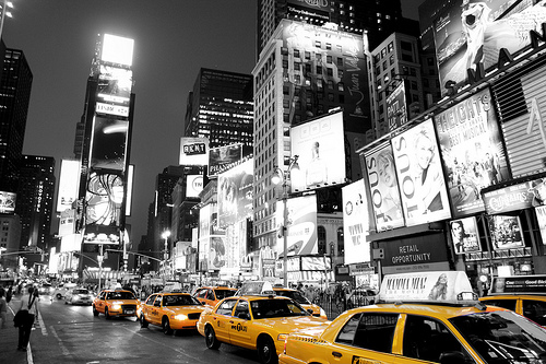 The World We Live In Times Square New York Black White And Yellow