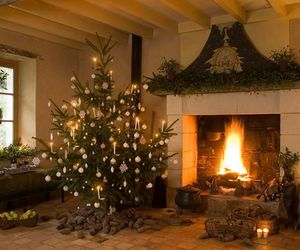 christmas, fire, and gifts image