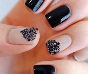 beautiful, nails, and black image