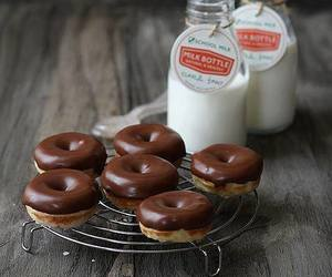 food, donuts, and milk image