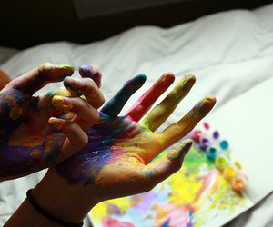 colors, girl, and painting image