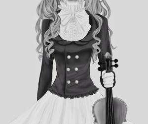 anime, violin, and girl image