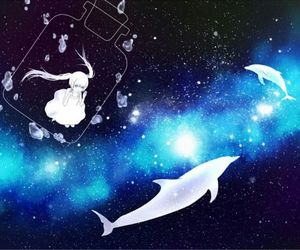 anime, dolphin, and girl image