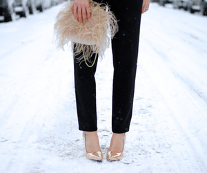 clutch, feather, and handbags image