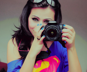 girl, camera, and superman image