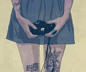 camera, drawing, and tattoo image