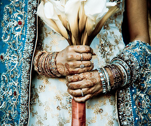 india, flowers, and blue image