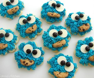 Cookies, cookie monster, and blue image