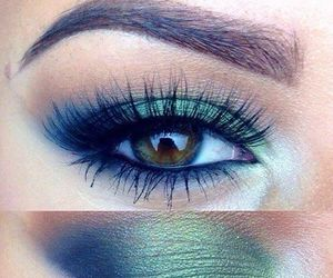make up, eye, and green image