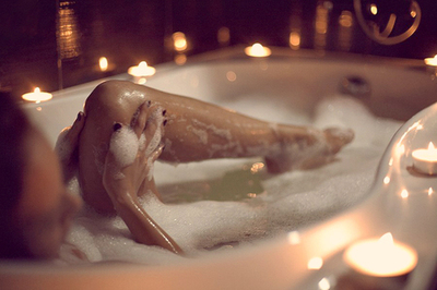 bath, candle, and legs image