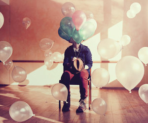 alone, white, and balloons image