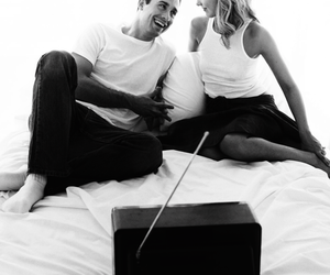 black and white, couple, and tv image