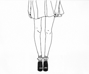 black and white, drawing, and girl image