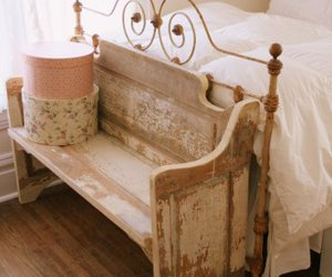 bed, bench, and vintage image