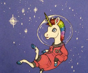 unicorn, space, and stars image