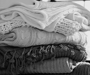 sweater, black and white, and scarf image