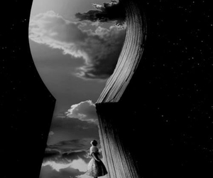 clouds, girl, and keyhole image