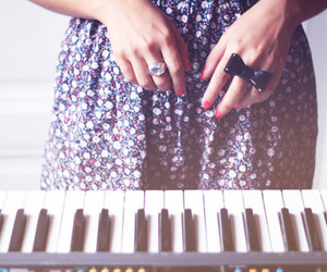 piano, dress, and rings image