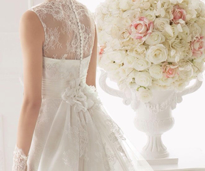 wedding dress, wedding, and beautiful image