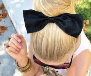 black bow, bow, and girl image
