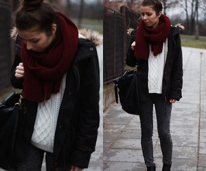 black jacket, white sweater, and sweater weather image