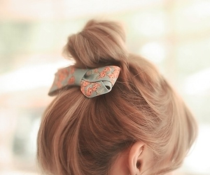 bow, bun, and hairstyle image