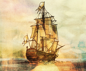 art, illustration, and pirate ship image