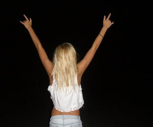 girl, blonde, and night image
