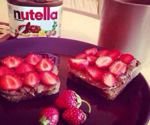 nutella, strawberry, and yummy image