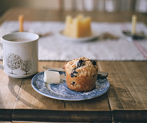 food, muffin, and coffee image
