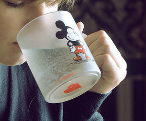 mickey mouse, girl, and drink image