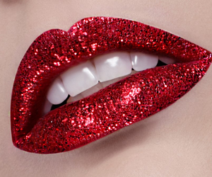 red, glitter, and lips image