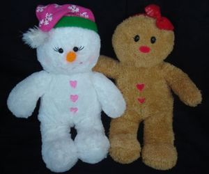 girl, snowman, and gingerbreadman image