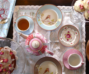 afternoon tea, tea party, and pink image