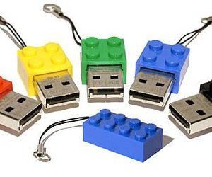 computer, lego, and pen drive image