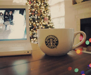 starbucks, christmas, and laptop image