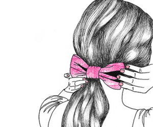 hair, drawing, and pink image