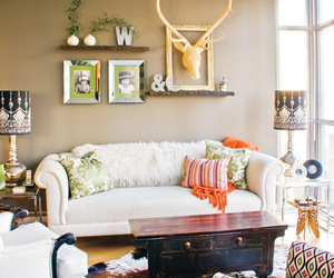 antlers, eclectic, and livingroom image
