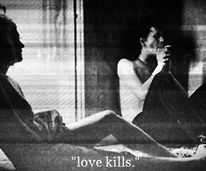 love, kill, and black and white image