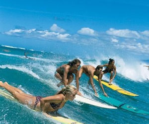 beach, surfer, and girls image