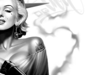 Marilyn Monroe, gun, and black and white image