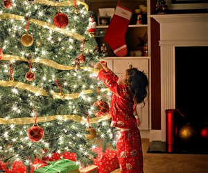 child, presents, and lights image