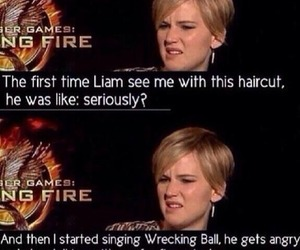 Jennifer Lawrence, funny, and miley cyrus image