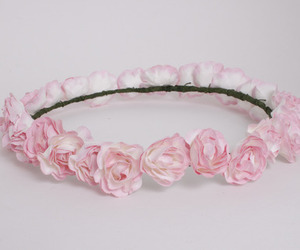 pink, flower crown, and flowers image