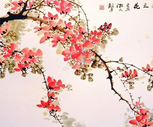 red flowers, chinese wall mural, and flowers wall mural image